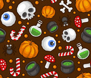 Halloween Seamless Pattern Background with Spider, Skull, Pumpkin, Candy, Bones and Eye Royalty Free Stock Images