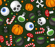 Halloween Seamless Pattern Background with Spider, Skull, Pumpkin, Candy, Bones and Eye Stock Image