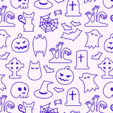 Halloween seamless pattern. Background vector. Pumpkin, Ghosts, Cats, Skulls, Bats and other symbols Stock Photo