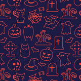 Halloween seamless pattern. Background vector. Pumpkin, Ghosts, Cats, Skulls, Bats and other symbols Royalty Free Stock Images