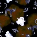 Halloween seamless pattern - bat, ghost, cat, eyes. Cute watercolor Royalty Free Stock Photos