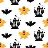 Halloween seamless pattern with bats. Ghosts and castles. Vector illustration Stock Photography