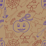 Halloween seamless pattern on beige background Royalty Free Stock Image