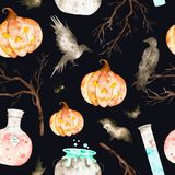 This halloween seamless pattern on a black background included magic cauldron,potion bottles,bats,ravens,branches and crazy pumpki Stock Photo