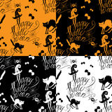 Halloween seamless pattern with black cat, bats, s Royalty Free Stock Photo