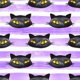 Halloween seamless pattern with Black cat Royalty Free Stock Photo