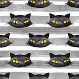 Halloween seamless pattern 2. Black cat Royalty Free Stock Images
