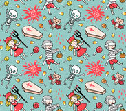 Halloween seamless pattern with children in costumes and stylish lettering - trick or treat. Stock Photography