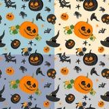 Halloween seamless pattern on colored background. Halloween accessories. Vector illustration. Set of four trendy seamless Halloween patterns. Colored seamless Stock Photo