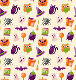 Halloween Seamless Pattern with Colorful Flat Icons. Illustration Halloween Seamless Pattern with Colorful Flat Icons. Abstract Holiday Wallpaper - Vector Royalty Free Stock Image