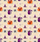Halloween Seamless Pattern with Colorful Traditional Icons Stock Photos
