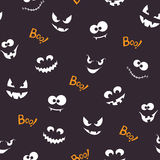 Halloween seamless pattern with creepy faces Stock Photo