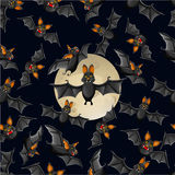 Halloween seamless pattern with cute cartoon bats Royalty Free Stock Images