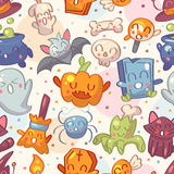 Halloween seamless pattern with cute characters Royalty Free Stock Photos
