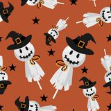 Halloween seamless pattern with cute witch scarecrow Lollipop. And star on orange background vector illustration