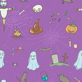 Halloween seamless pattern. Design with skull, pumpkin, candy, ghost, raven, grave, scarecrow and cat Stock Images