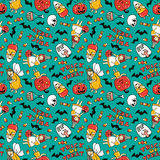 Halloween seamless pattern design. Vector background with children in costumes. Stock Photo
