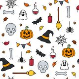 Halloween seamless pattern doodle isolated set of scary items. Vector Royalty Free Stock Photo