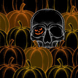 Halloween seamless pattern with dotted pumpkins and skull Stock Images