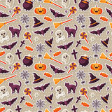 Halloween Seamless Pattern with Flat Sticker Icons. Halloween Seamless Pattern with Orange Pumpkin, Spider Web, Witch Hat and Cauldron, Skull and Crossbones Stock Photo