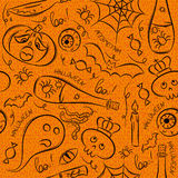Halloween seamless Pattern with ghost, skull and  pumpkin Royalty Free Stock Photo