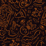 Halloween seamless Pattern with ghost, skull and  pumpkin Royalty Free Stock Images