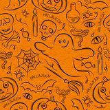 Halloween seamless Pattern with ghost, skull and  pumpkin Royalty Free Stock Photography
