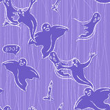 Halloween seamless pattern with ghosts Royalty Free Stock Photography