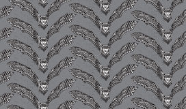 Halloween seamless pattern with hand drawn graphic ornate bats. Royalty Free Stock Photos