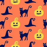 Halloween seamless pattern with hand drawn pumpkins, witch hats and cats doodles Royalty Free Stock Photo
