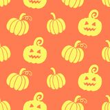 Halloween seamless pattern with hand drawn scary pumpkins doodles Royalty Free Stock Images
