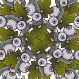 Halloween Seamless Pattern. Human fingers and eyeballs arranged in a cute garland. Chaotic distribution of elements stock illustration