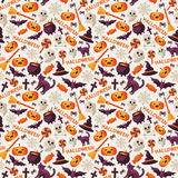 Halloween Seamless Pattern with Icons and Text Royalty Free Stock Photos