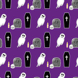 Halloween seamless pattern 2. Illustration of coffin, tombstone, candle, skull and spooky smiling ghost stock illustration