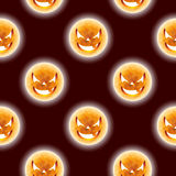 Halloween seamless pattern illustration with moon scary faces on dark background. Stock Photography