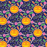 Halloween seamless pattern 3. Illustration of pumpkin, candies, black bats and spiders in pattern stock illustration