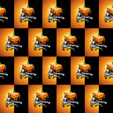 Halloween seamless pattern illustration with pumpkins scary faces and moon on dark background. Royalty Free Stock Photo