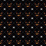 Halloween seamless pattern illustration with pumpkins scary faces and spiders on black background. Royalty Free Stock Image