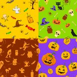 Halloween seamless Pattern. Illustration of set of colorful seamless background for Halloween Royalty Free Stock Photos