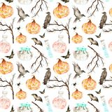 This halloween seamless pattern included magic cauldron,potion bottles,bats,ravens,spider,branches and crazy pumpkin. Stock Photography