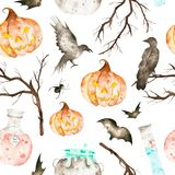 This halloween seamless pattern included magic cauldron,potion bottles,bats,ravens,spider,branches and crazy pumpkin. Royalty Free Stock Images