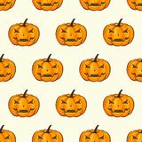 Halloween Seamless Pattern Isolated Wrap Wallpaper With Terrible Pumpkins In A Cartoon Style. Vector illustration of Stock Image