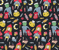 Halloween seamless pattern. Kids and cats in costumes with sweets on the polka dot background. Vector illustration. Royalty Free Stock Photo