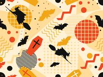 Halloween seamless pattern in memphis style. Witches on a broomstick with bats and geometric figures. Vector vector illustration