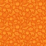 Halloween Seamless Pattern Orange Background Stock Photos