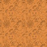 Halloween seamless pattern on orange background Stock Image