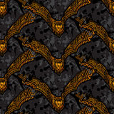 Halloween seamless pattern with ornate vampire bats Royalty Free Stock Photos