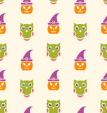 Halloween Seamless Pattern Owl and Pumpkin Royalty Free Stock Images