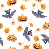 Halloween seamless pattern - pumpkin and bat. Cute naive watercolor. Halloween seamless pattern with halloween pumpkin and bat. Cute naive watercolor Stock Image