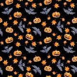 Halloween seamless pattern - pumpkin and bat. Cute naive watercolor. Halloween seamless pattern with halloween pumpkin and bat. Cute naive watercolor Royalty Free Stock Images
